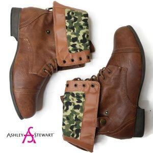 Ashley Stewart size 11W fold down brown camo boots